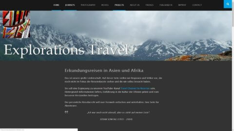Projekt Explorations-Travel by Manthey Webdesign