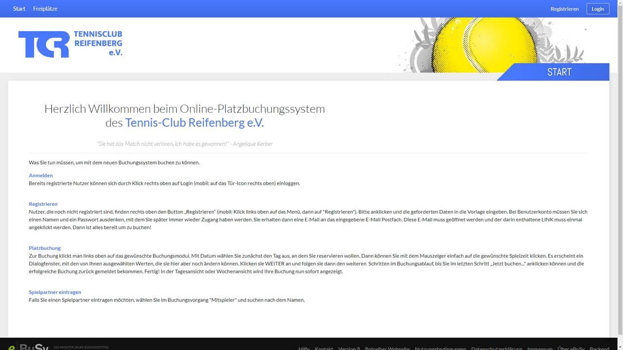 Onlineplatzbuchungssystem für den Tennisclub-Reifenberg konfiguriert by Manthey Webdesign